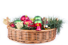Christmas basket decorated Royalty Free Stock Images