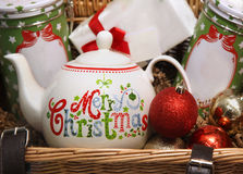 Christmas basket Stock Images