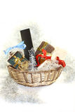 Christmas basket with gifts. A christmas basket with a lot of gift Royalty Free Stock Photo