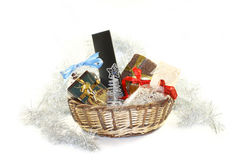 Christmas basket with gifts. A christmas basket with a lot of gift Stock Photography