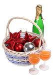 Christmas basket and glasses Stock Photography