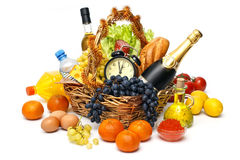Christmas basket of goods Royalty Free Stock Images