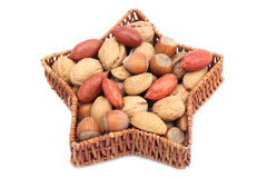Christmas basket with nuts Stock Photo