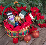 Christmas Basket of Ornaments Royalty Free Stock Photography