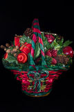 Christmas basket. Ornaments red and green Stock Images