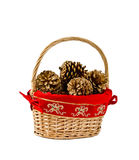 Christmas basket of pine cones Stock Photography