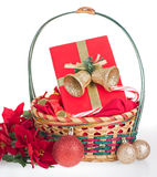 Christmas basket with present on a white background Royalty Free Stock Photography