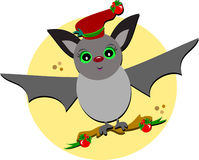 Christmas Bat in Flight Royalty Free Stock Photo