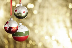 Christmas baubels and copyspace Stock Photography