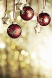 Christmas baubels and copyspace Stock Photos