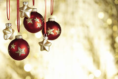 Christmas baubels and copyspace Stock Image