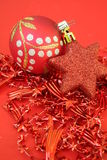 Christmas bauble. Two christmas baubles and decoration Royalty Free Stock Images