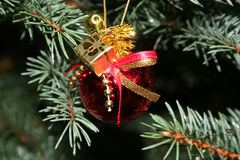 Christmas bauble. Christmas ornaments on pine branch stock photos