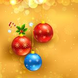 Christmas Bauble. Illustration of decorated bauble hanging in Christmas background Stock Images
