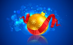 Christmas Bauble. Illustration of colorful Christmas bauble with ribbon Stock Photo