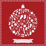 Christmas bauble. White christmas bauble made of festive icons on red background Stock Photography