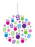 Christmas Bauble. Design with stars, snowflakes, gift boxes and baubles Royalty Free Stock Images