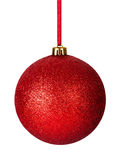 Christmas Bauble. Red christmas bauble with ribbon isolated on white background Stock Image