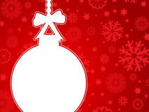 Christmas bauble background. Decorative background with a Christmas bauble on snowflakes Royalty Free Stock Photo