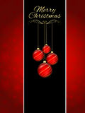 Christmas bauble background. Decorative Christmas background with hanging baubles Royalty Free Stock Photo
