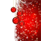 Christmas bauble background. Decorative Christmas background with hanging baubles against snow Stock Image
