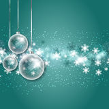 Christmas bauble background. Christmas baubles on a snowflake background Stock Images