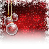 Christmas bauble background. Christmas background with baubles and snowflake border Stock Photos