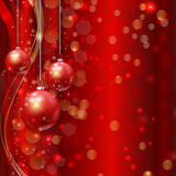 Christmas bauble background. Decorative Christmas background with hanging baubles Stock Photos