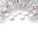 Christmas bauble background. Decorative Christmas background with pine tree branches and hanging baubles Stock Photo