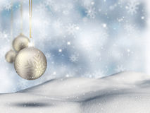 Christmas bauble background. Christmas background with hanging bauble Royalty Free Stock Photo