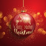 Christmas bauble background. Christmas background with hanging bauble on bokeh lights vector illustration