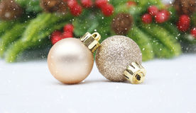 Christmas bauble background with snow Stock Image