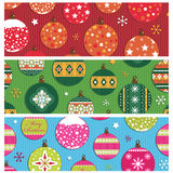 Christmas bauble banners. Set of festive christmas bauble banners isolated on white Royalty Free Stock Image