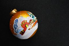 Christmas. Bauble on black background .With copy-space Stock Photos