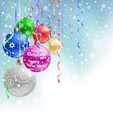 Christmas bauble blue background Royalty Free Stock Images