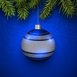 Christmas bauble blue. With green pine tree, elegant vector Christmas background Royalty Free Stock Images