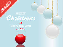 Christmas bauble blue and white background with text and red cor Royalty Free Stock Images
