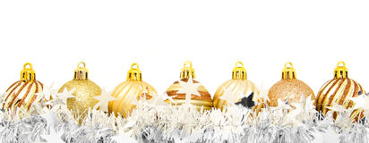 Glittery Christmas Baubles Gold And Silver Royalty Free
