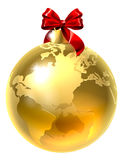 Christmas Bauble Bow Globe World Earth Stock Photo