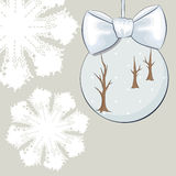 Christmas bauble with bow and snowflakes Royalty Free Stock Images