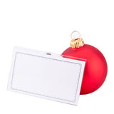 Christmas bauble and business card Stock Images