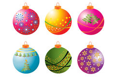 Christmas Bauble Collection 1. Collection of six bright decorated Christmas baubles Royalty Free Stock Images