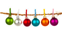 Christmas bauble collection hang on rope Stock Images