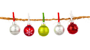 Christmas bauble collection hang on rope Royalty Free Stock Photos