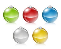Christmas Bauble Collection. A collection of 5 realistic glossy Christmas ornaments in five colors Stock Image