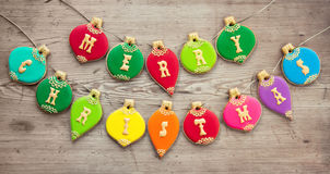 Christmas bauble cookies. Cookies with a Christmas greeting Stock Photos