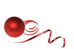 Christmas bauble and dancing ribbon Royalty Free Stock Image