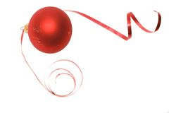 Christmas bauble and dancing ribbon Stock Photography