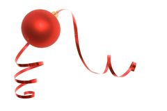 Christmas bauble and dancing ribbon Royalty Free Stock Photo