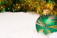 Christmas bauble decoration. Green christmas bauble and decoration Stock Image
